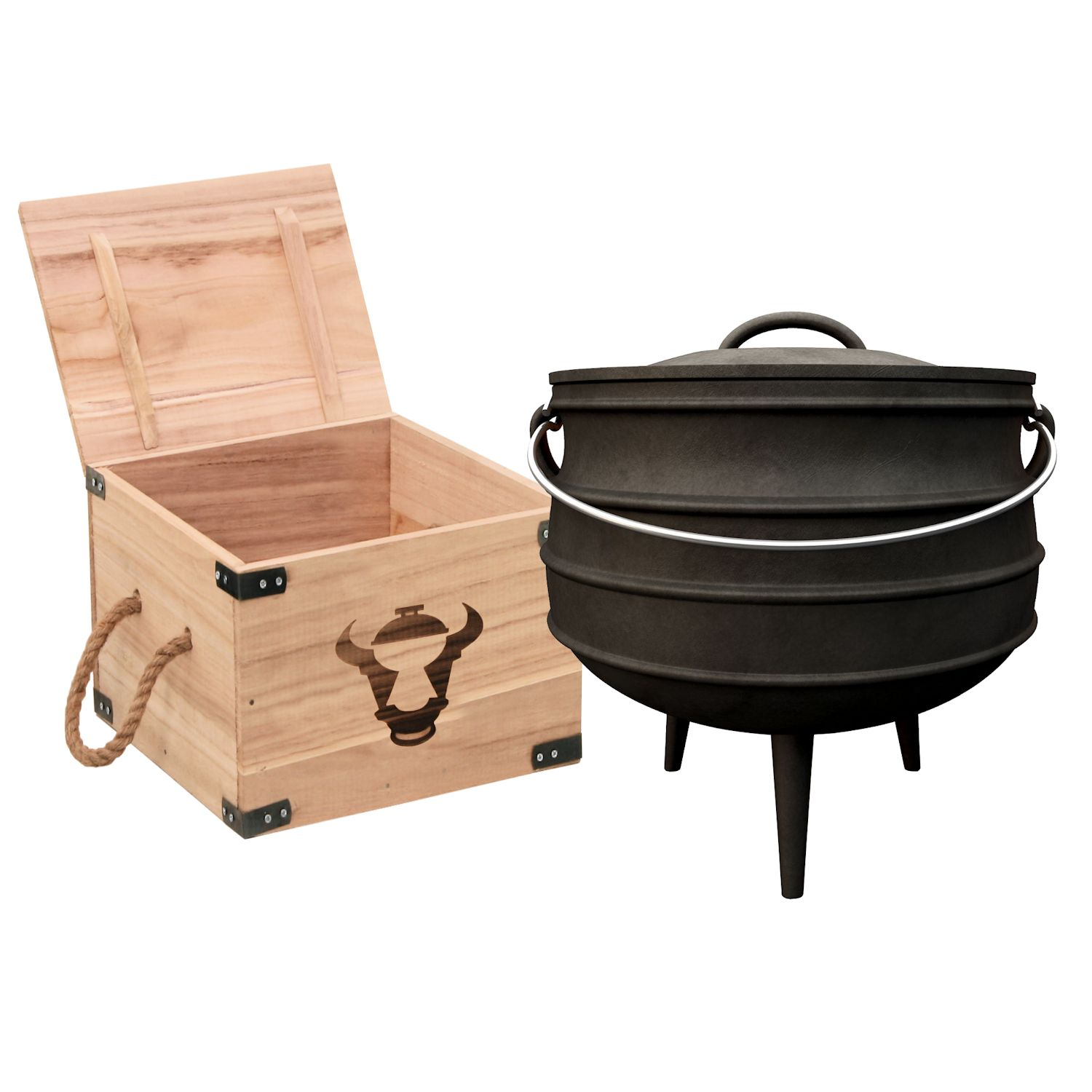 bbq toro dutch oven set in holzkiste mit stieltopf grillplatte grillhandschuhe ebay. Black Bedroom Furniture Sets. Home Design Ideas