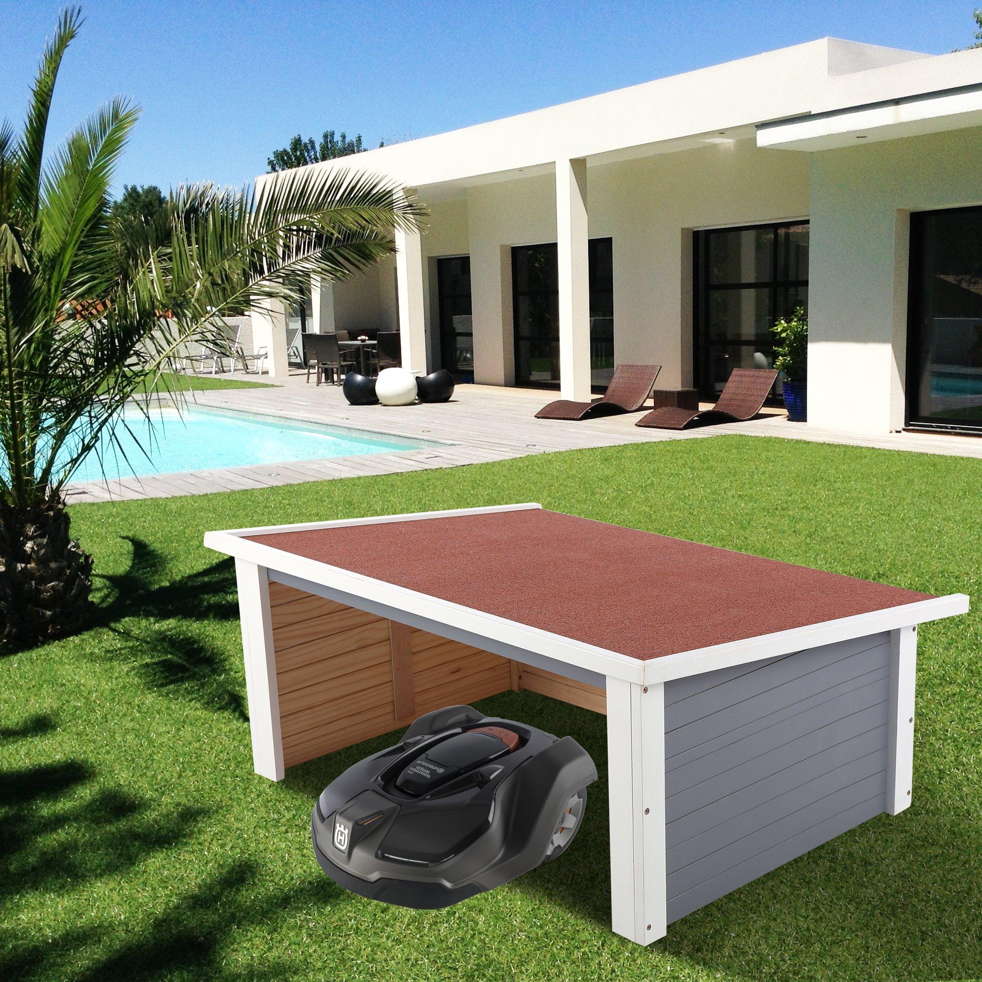 zelsius holzgarage f r rasenm her roboter m hroboter carport grau cs clever. Black Bedroom Furniture Sets. Home Design Ideas