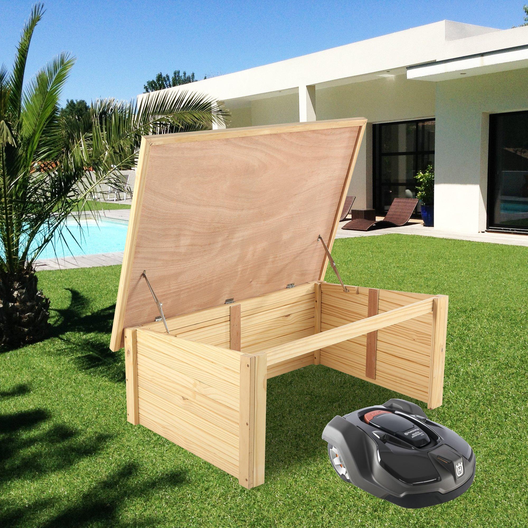 zelsius m hroboter holzgarage carport f r rasenroboter unterstand rasenm her ebay. Black Bedroom Furniture Sets. Home Design Ideas