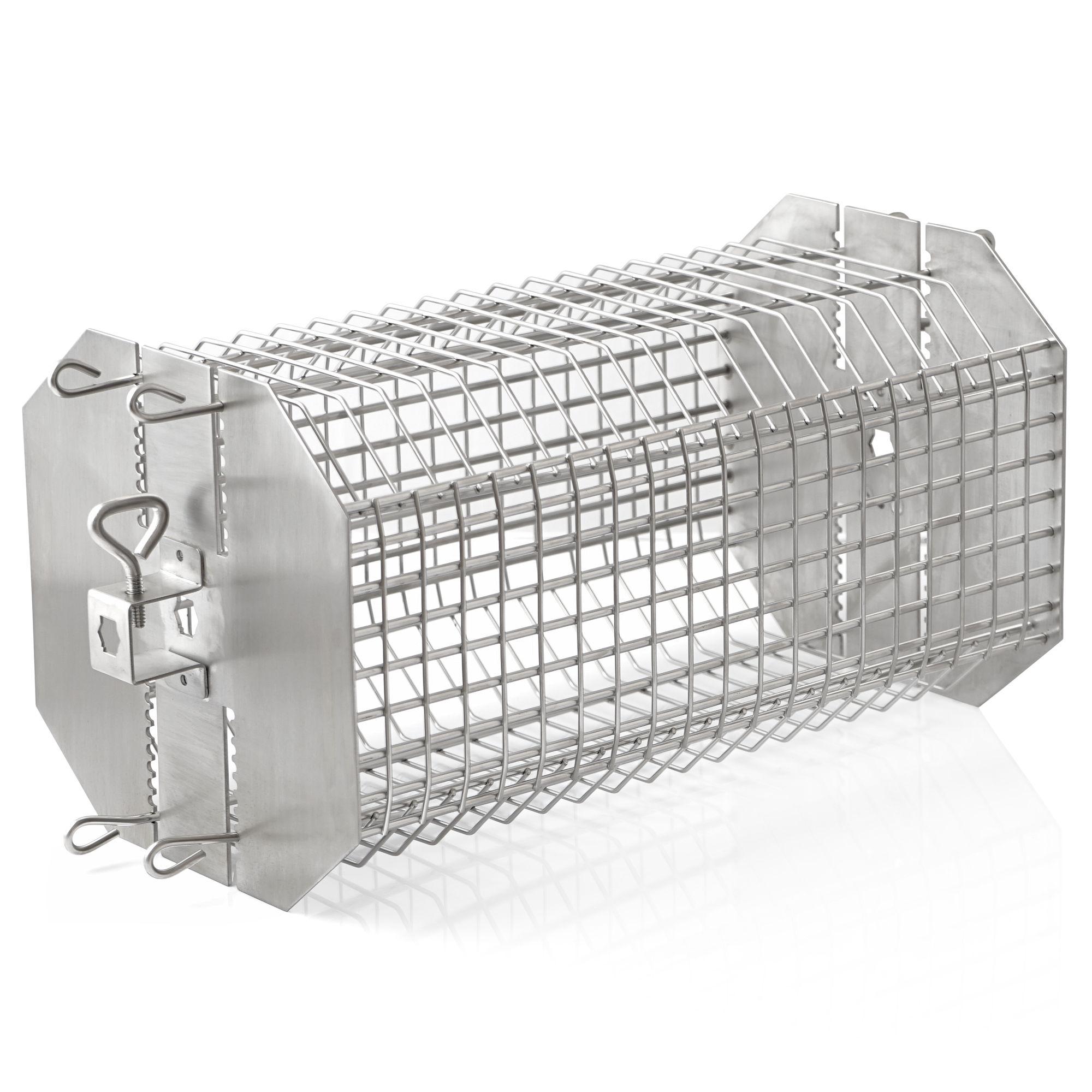 BBQ-Toro Rotisserie Grillkorb für Drehspieß Edelstahl Bratenkorb verstellbar