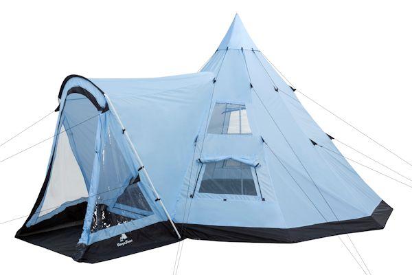 campfeuer tipi zelt mit vorbau indianerzelt hellblau. Black Bedroom Furniture Sets. Home Design Ideas