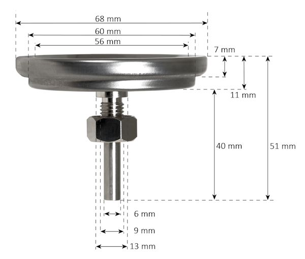 BBQ Grillthermometer Thermometer für Smoker, Bimetall analog, bis 400 °C