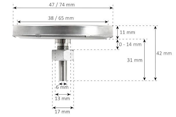 BBQ-Bull Grillthermometer Thermometer für Smoker, Bimetall analog, bis 400 °C