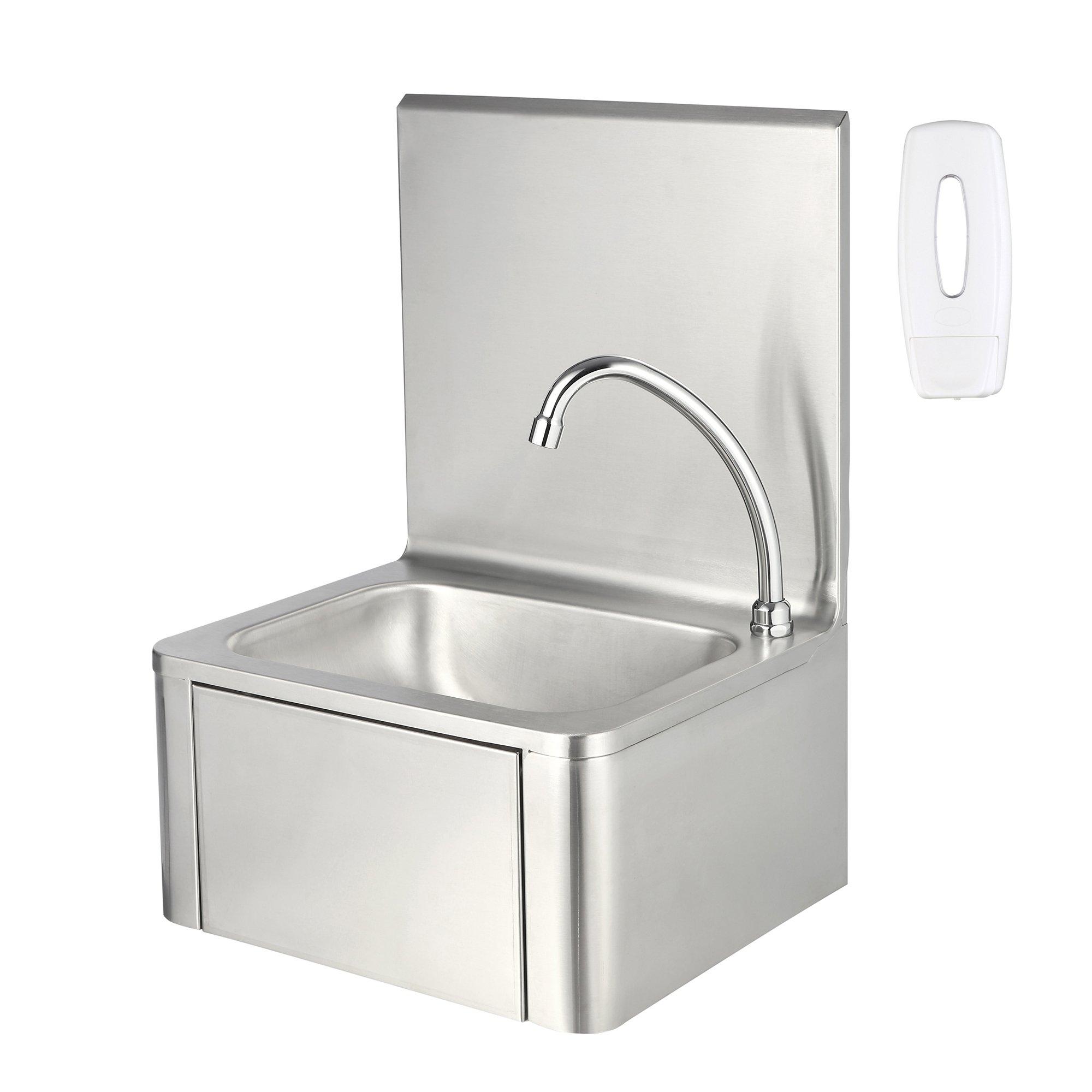 zelsius edelstahl handwaschbecken mit kniebet tigung und. Black Bedroom Furniture Sets. Home Design Ideas