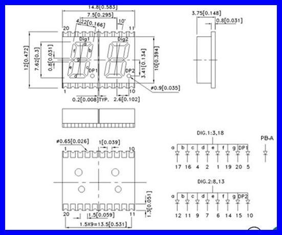 KINGBRIGHT 1-Digit 7-SEGMENT-ANZEIGE 10.16MM BLAU KCSC04-136 2 Stück