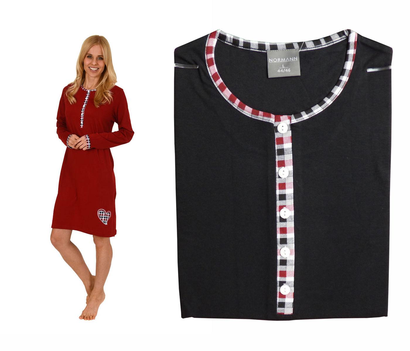 finest selection 3f83a 69f21 Damen Kurznachthemd mit Knopfleiste Langarm Uni 57961