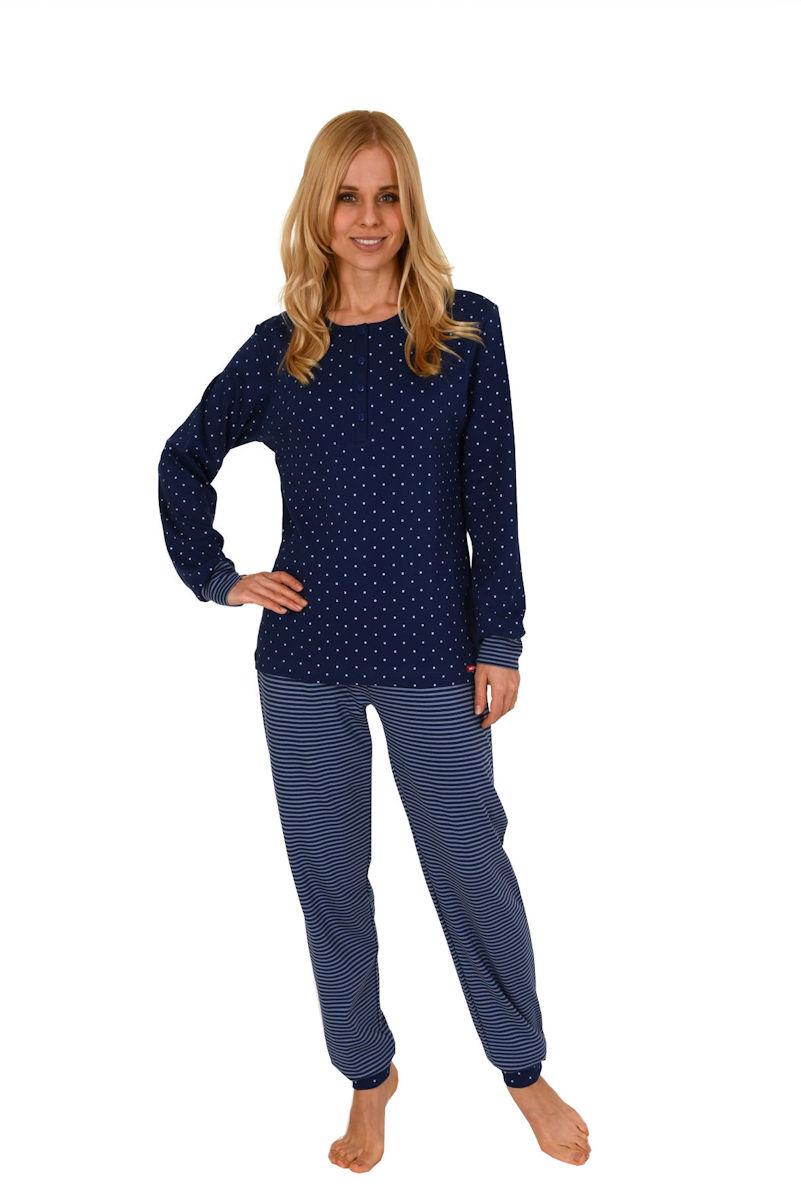 37005d0c691ee2 Damen Pyjama Knopfleiste Oberteil Tupfen Hose Ringel 57995 Marine Gr S 36 38