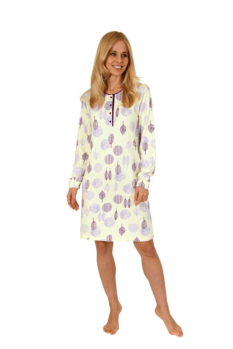 the latest e5582 09908 Ü Damen Nachthemd 110 cm Knopfleiste Langarm Blätter 58073 ...