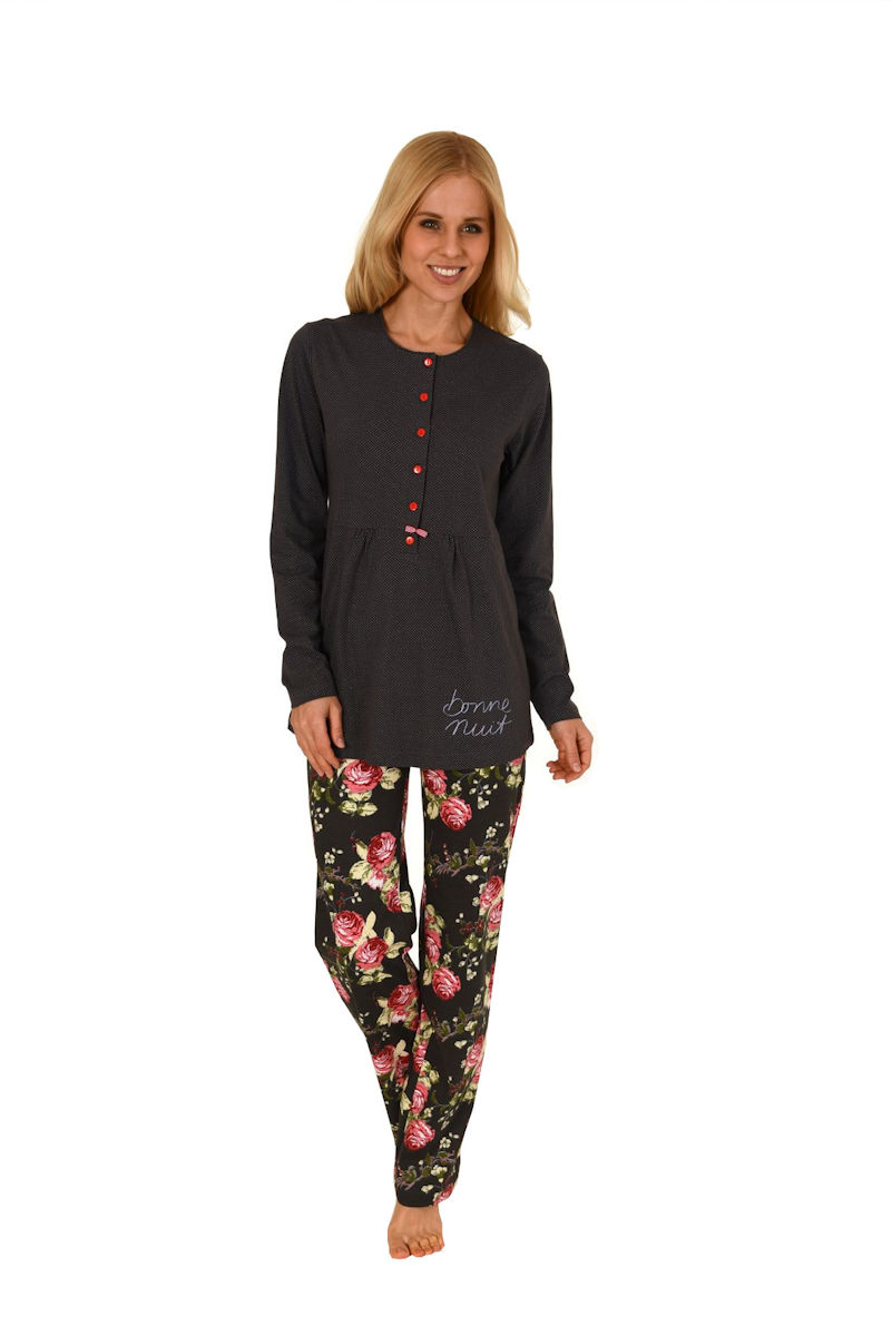 Damen Blumen Blatt 100/% Gebürstete Baumwolle Pyjama Geknöpft Top /& Hose Satz