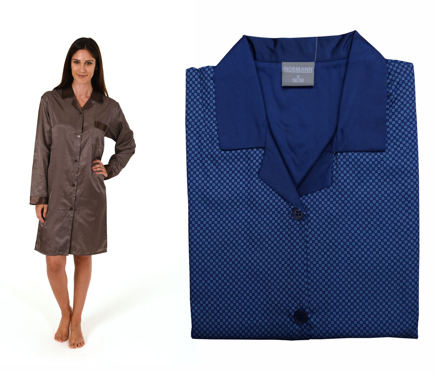 1b5ff4ab6f Damen Satin Nachthemd Duchgeknöpft Langarm 58359