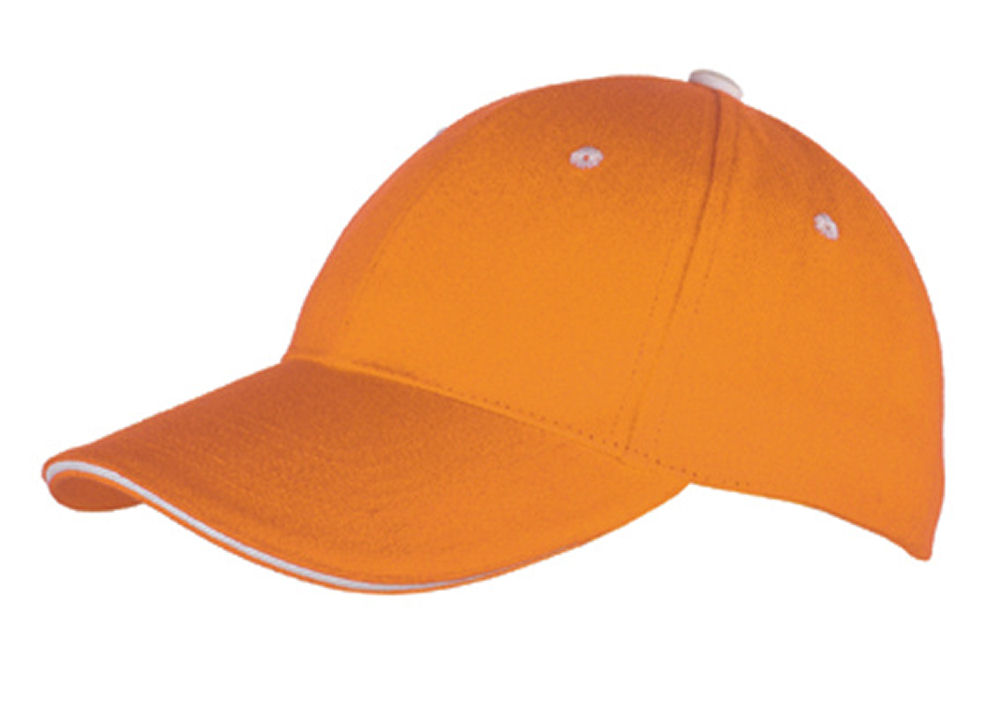 Unisex Baseball Cap Einfarbig Klettband Panel 7008 Orange