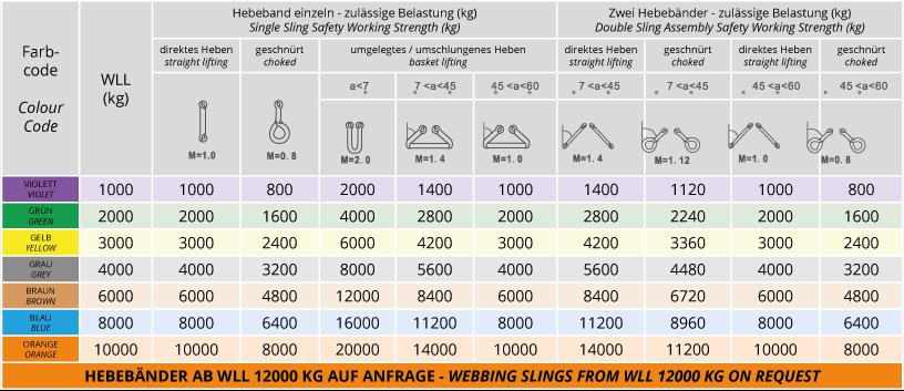 Hebegurt Hebeschlinge Hebeband Schlaufe Krangurt Gurt WLL 1000 kg 2 m