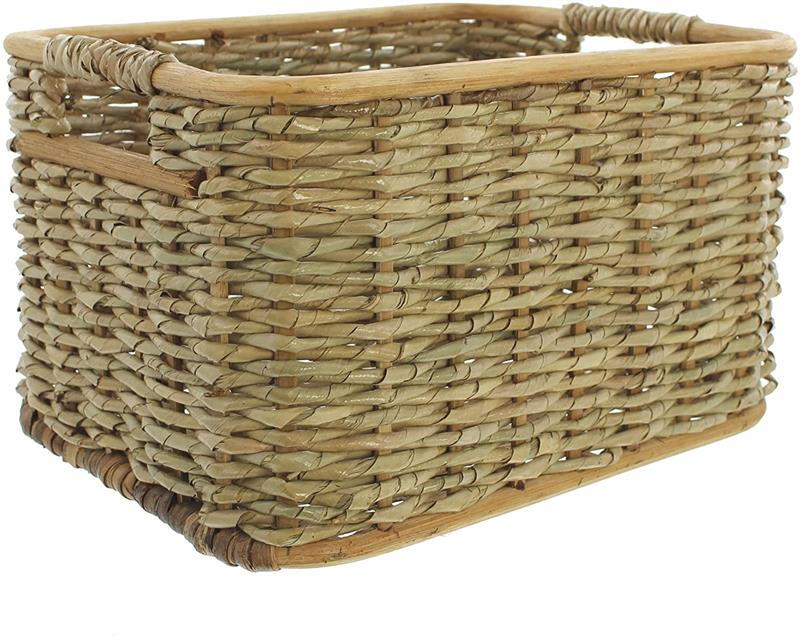 Schrank Regal Flecht Wäsche Box Kiste Aufbewahrungs Korb aus Rattan 40x30x23 cm