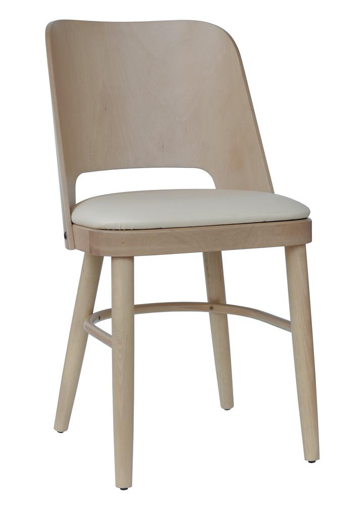 Details zu Stuhl Küchenstuhl Esszimmerstuhl Buche massiv natur Polster creme T011
