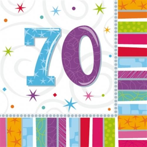 Radiant Birthday bunte Servietten Zahl 70 a991418