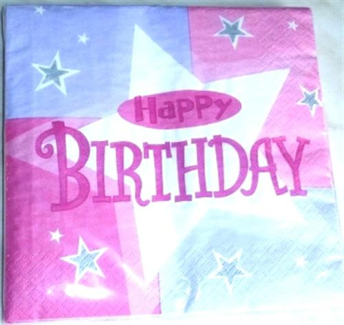 Pink Shimmer HAPPY BIRTHDAY 16er Servietten 33cm A991803--