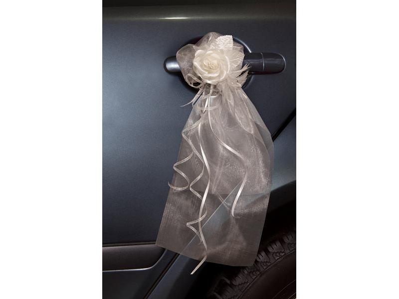 2x Organza Dekoration mit Satinrosen für den Auto Tür Griff Farbwahl Hochzeit