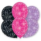 GLAMOUR PINK Happy Birthday 6 Ballons a-9901070