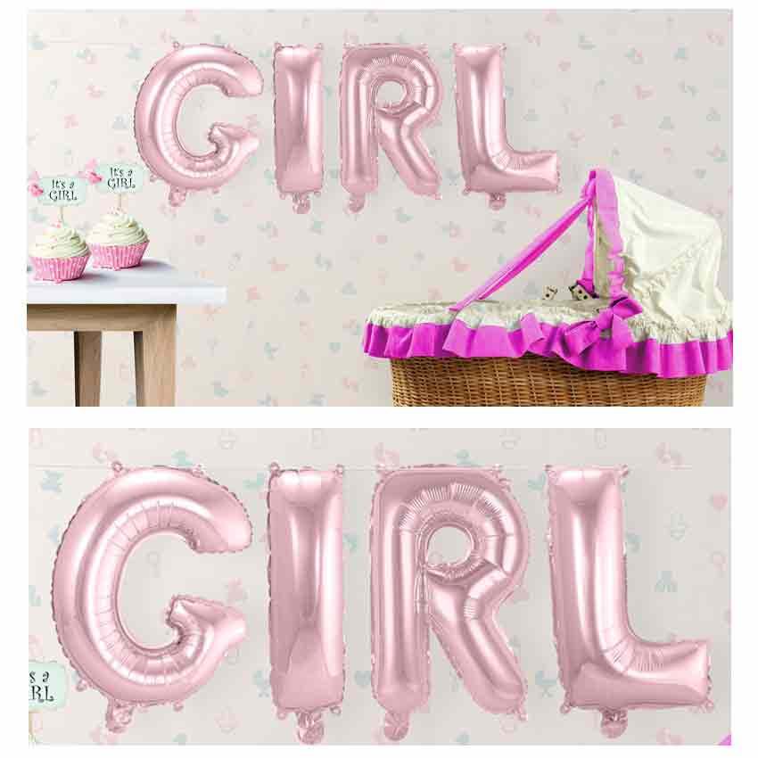 4er Folienballon Set GIRL Buchstaben Girlande rosa 36 cm hoch