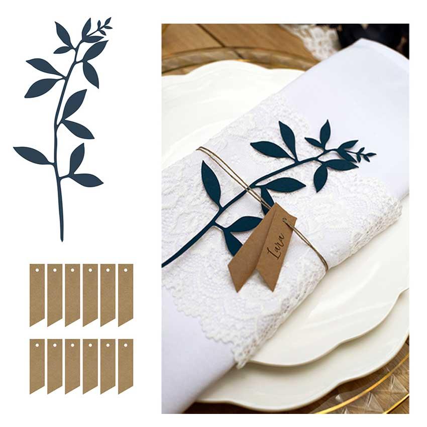 deko ast mit bl ttern und schildchen 6er set auswahlfarbe dgpz1. Black Bedroom Furniture Sets. Home Design Ideas