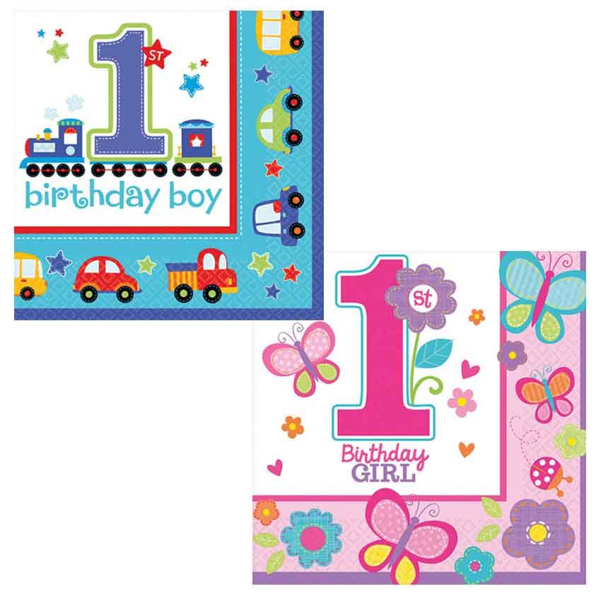Birthday 1 Geburtstag Servietten Auswahl