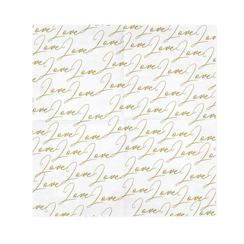 Servietten Love Weiß Mit Goldenem Druck Sp33 51 008