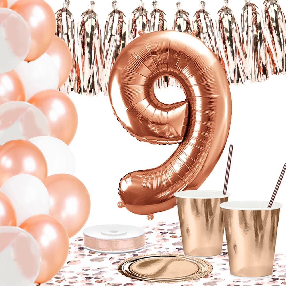 DekoGuru® 18 Geburtstag Set mit Folienballons Zahl 18 Einweg Geschirr und Deko