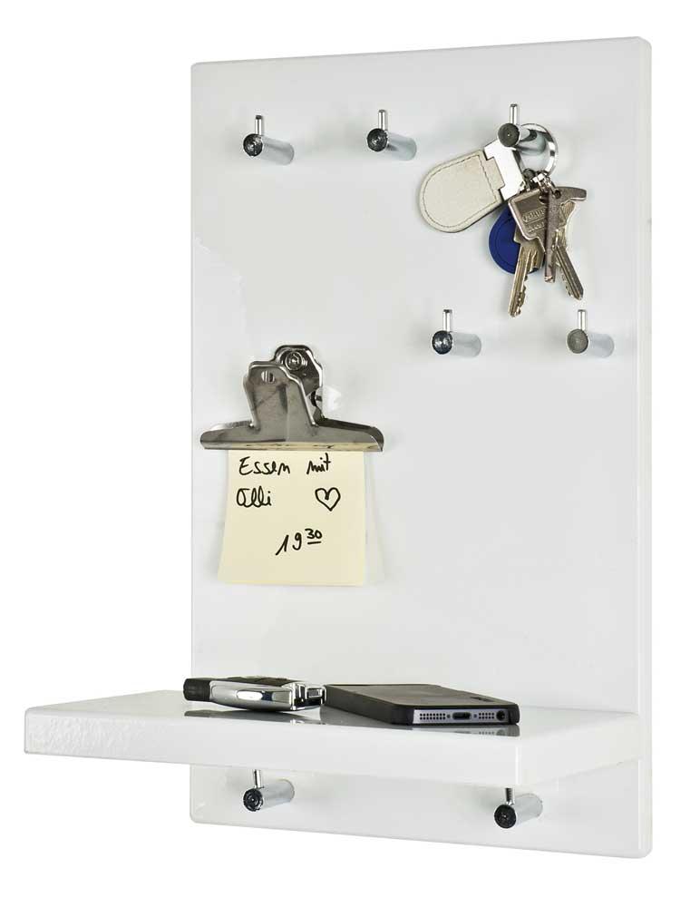 schl sselboard schl sselbrett hochglanz wei ablage haken 25x40x17cm top ebay. Black Bedroom Furniture Sets. Home Design Ideas