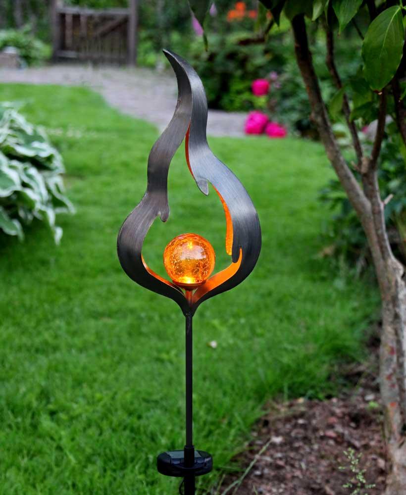 solar gartenstecker metall led amberfarben bruchglasoptik. Black Bedroom Furniture Sets. Home Design Ideas