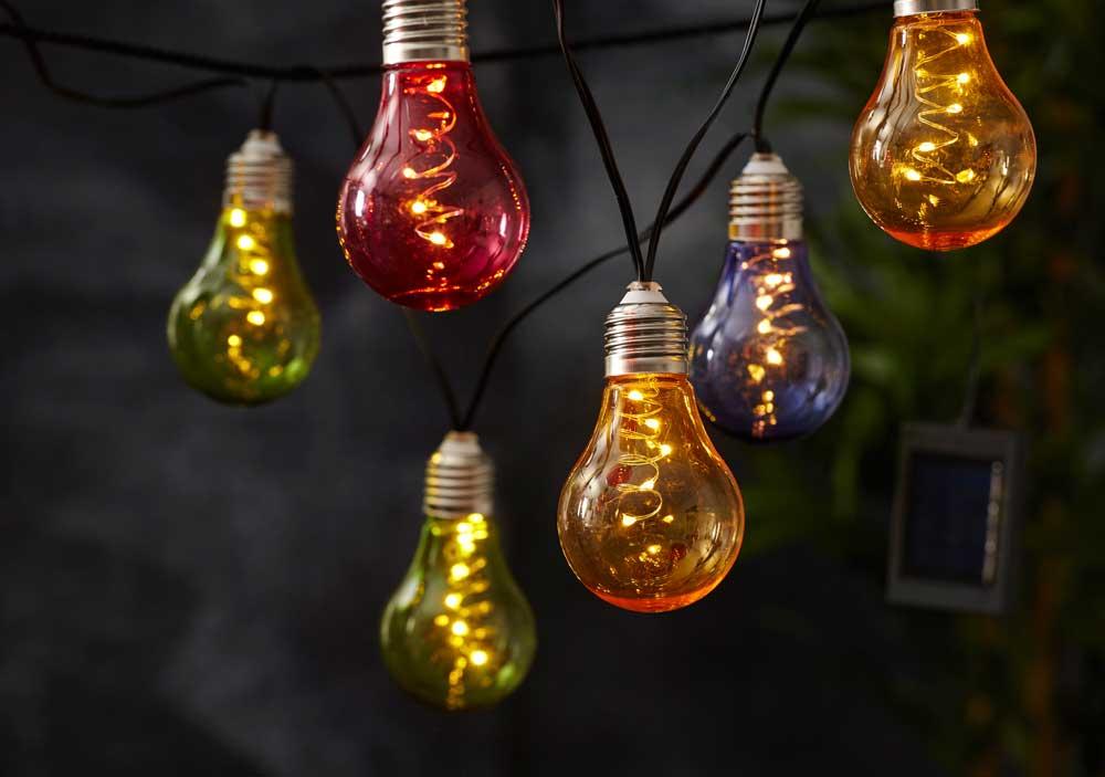 led solar lichterkette gl hbirnen 50 leds warmwei klar o bunt f r au en ebay. Black Bedroom Furniture Sets. Home Design Ideas