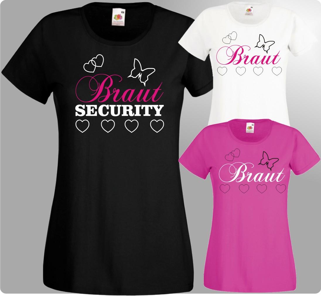 Jga Damen TShirts Braut Security Junggesellinnenabschied Hochzeit Herz 19ec685859