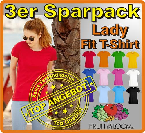 3er Sparpack Lady Fit T-Shirt Fruit of the Loom Ladie Girlie Shirt S M L XL XXL