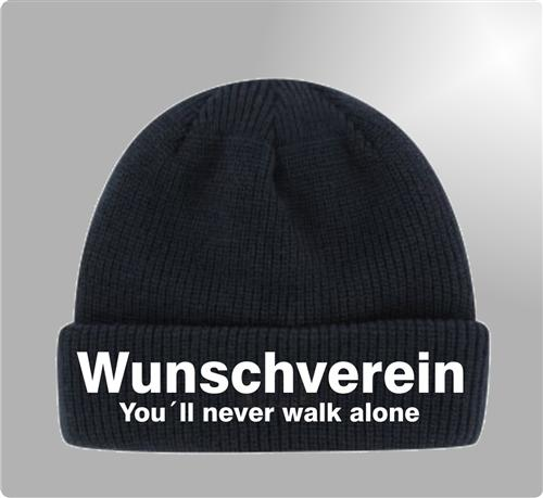 TOP Fußball Fan Strickmütze WUNSCHVEREIN -You´ll never walk alone- Fan Mütze