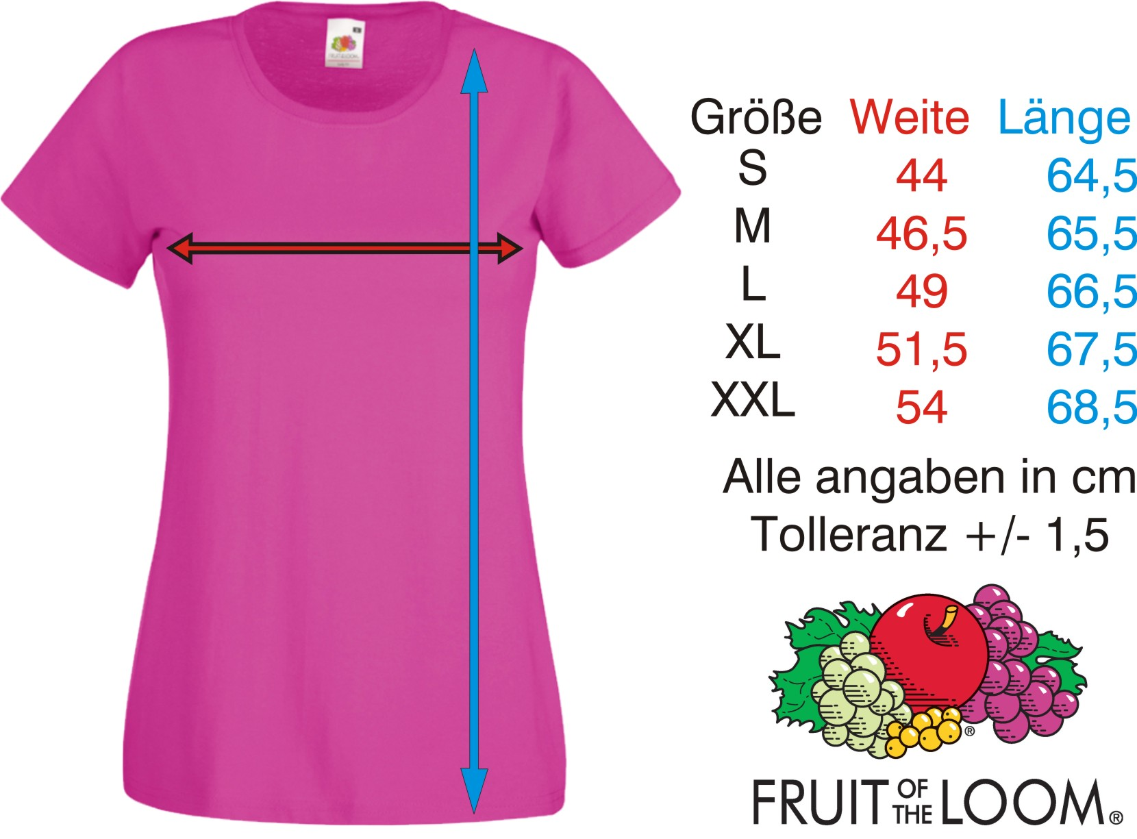 Damen T Shirt von Fruit of the Loom Innovative Sofspun Qualität mit extra  weichem Griff Fashion Fit, feminine Passform mit Seitennähten 86259eb53e