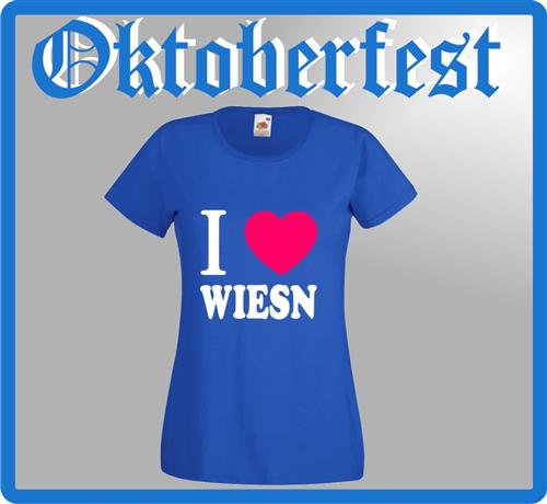 Damen T-Shirt I LOVE WIESN Girly Oktoberfest Shirt Wiesn S-XXL