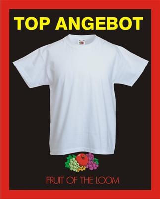 KINDER T-SHIRT weiß FRUIT OF THE LOOM 92-152 NEU TOP