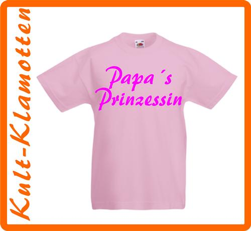 PAPAS PRINZESSIN KINDER T-SHIRT FUN IN 6 FARBEN 92 98 104 116 128 140 NEU