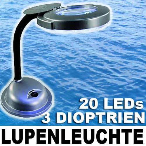 tisch lupenleuchte 3 dioptrien 20 led tischlampe lupe mcshine lpl 600 neu ebay. Black Bedroom Furniture Sets. Home Design Ideas