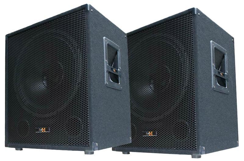 2x 600w dj pa subwoofer bass lautsprecher boxen paar 38cm. Black Bedroom Furniture Sets. Home Design Ideas