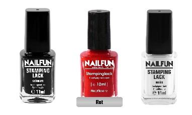 SET - 3 Stück NAILFUN Stampinglack schwarz + rot + weiss [3x 11ml]