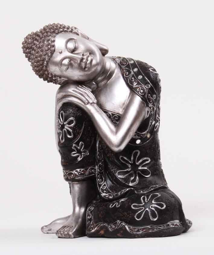 deko asien thailand 24 cm buddha figur statue skulptur feng shui silber schwarz ebay. Black Bedroom Furniture Sets. Home Design Ideas