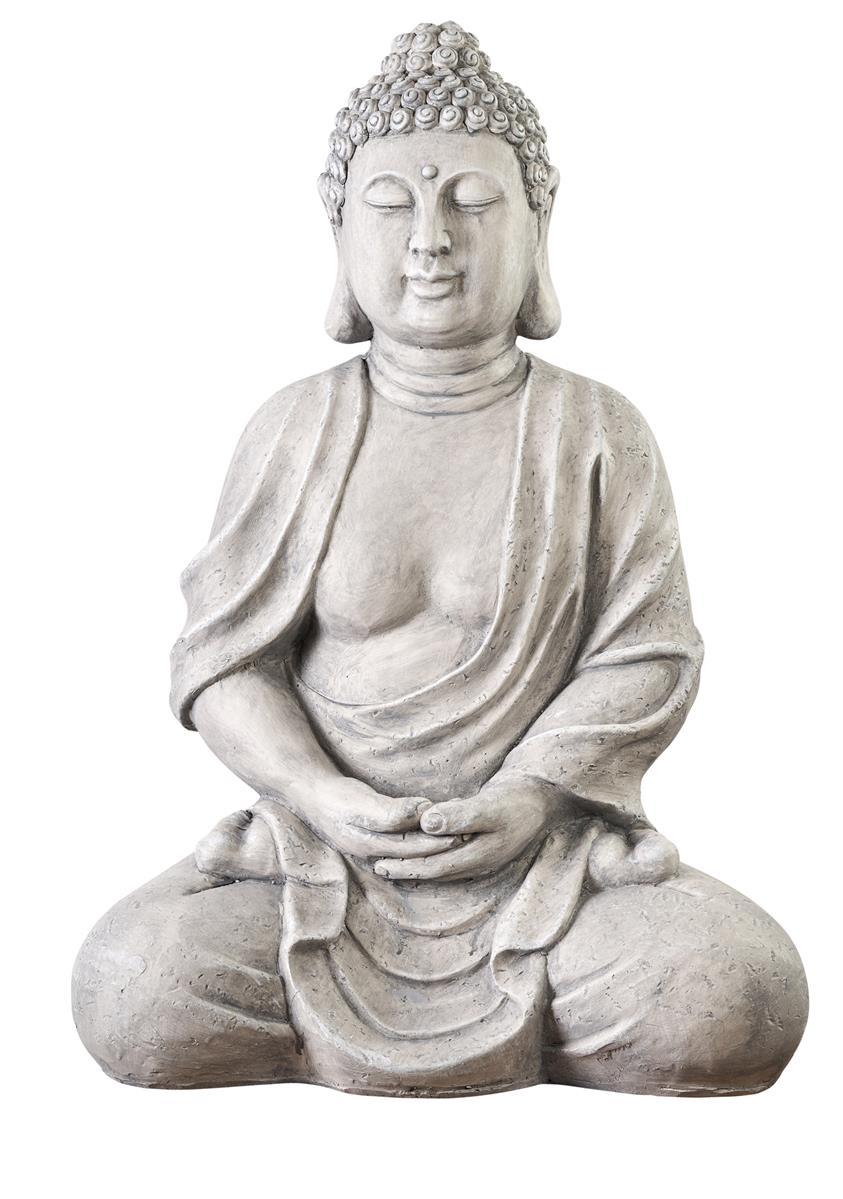 XXXL Großer Buddha 70 Cm Steinfigur Garten Deko Skulptur Feng Shui Sitzend  Figur