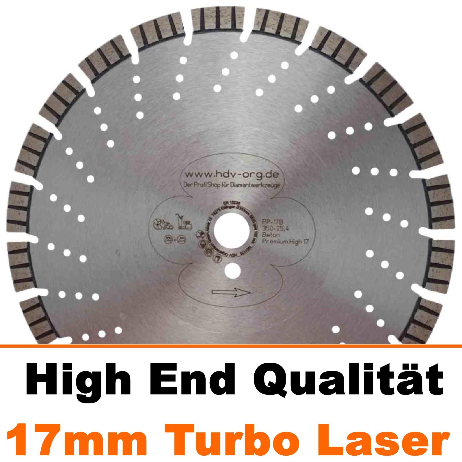 Laser Diamanttrennscheibe 17mm für Beton Granit Premium 230 x 22,2 mm Turbo