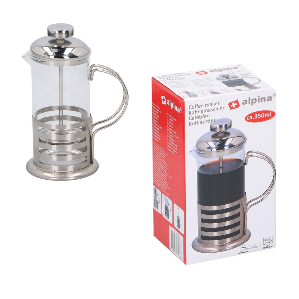 350ml Edelstahl Kaffeebereiter French Press Teebereiter Teekocher Kaffeekocher