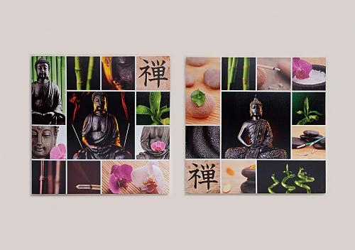 2 er set buddha bild 70cm x 70cm orchidee bambus steingarten feng shui motive ebay. Black Bedroom Furniture Sets. Home Design Ideas