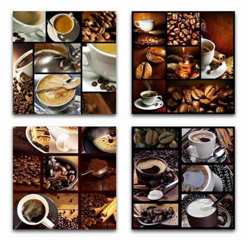 4 x wandbilder kaffee bohnen tasse 50 cm x 50 cm milchkaffee cappuccino bilder ebay. Black Bedroom Furniture Sets. Home Design Ideas