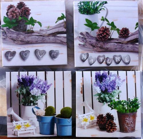4 teilig Wandbilder Lavendel Motive je 16 x 16 cm Nature Love Pflanzen