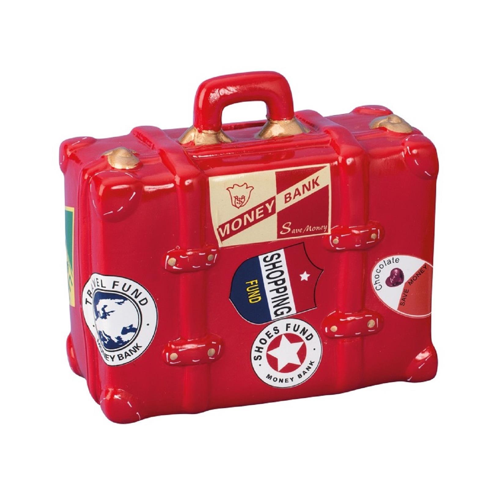 Spardose Reisekoffer Rot