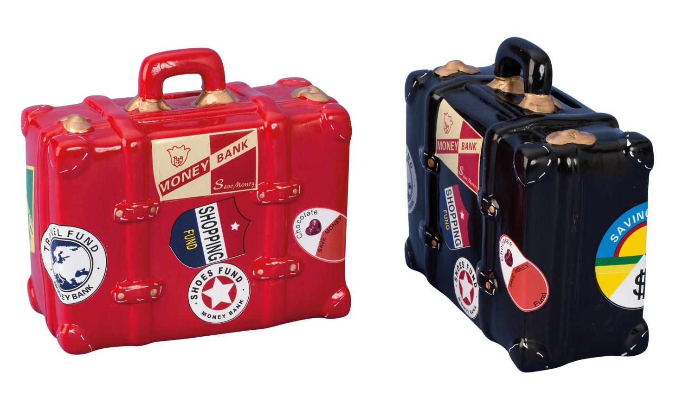 Spardose Reisekoffer schwarz und rot