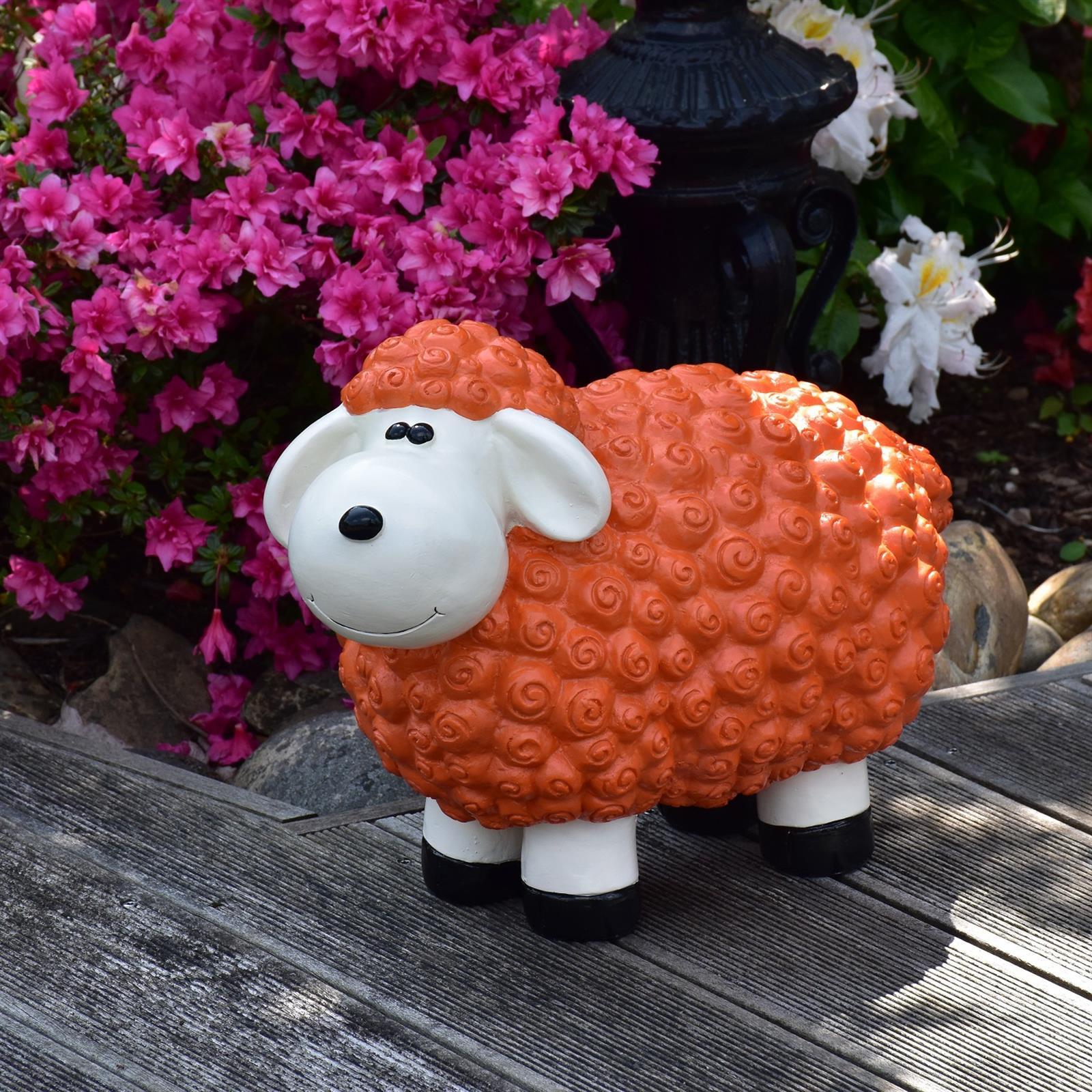 Gartenfigur Schaf in Orange